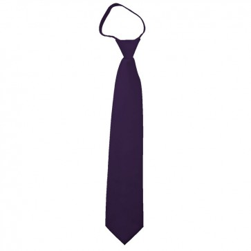 Solid Eggplant Boys Zipper Ties Kids Neckties