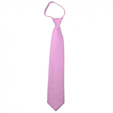 Solid Pink Boys Zipper Ties Kids Neckties