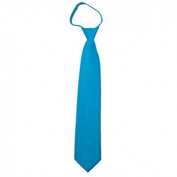 Solid Turquoise Blue Boys Zipper Ties Kids Neckties