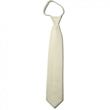Solid Cream Boys Zipper Ties Kids Neckties