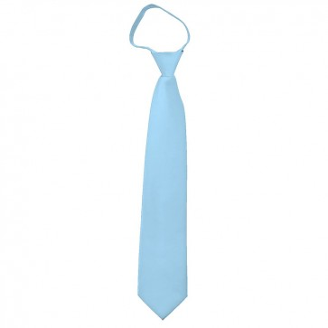 Solid Powder Blue Boys Zipper Ties Kids Neckties