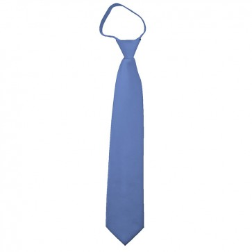 Solid Steel Blue Boys Zipper Ties Kids Neckties