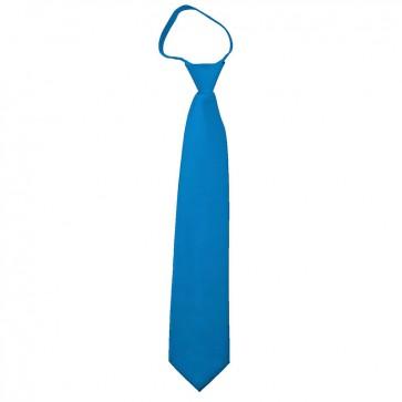 Solid Peacock Blue Boys Zipper Ties Kids Neckties