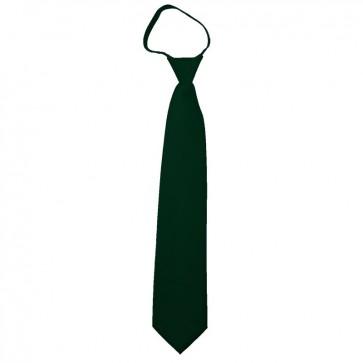Solid Hunter Green Boys Zipper Ties Kids Neckties