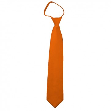 Solid Orange Boys Zipper Ties Kids Neckties
