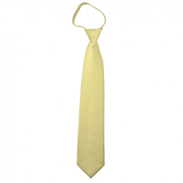 Solid Light Yellow Boys Zipper Ties Kids Neckties