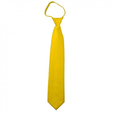 Solid Golden Yellow Boys Zipper Ties Kids Neckties