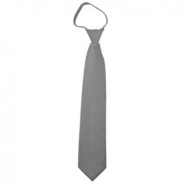 Solid Silver Boys Zipper Ties Kids Neckties