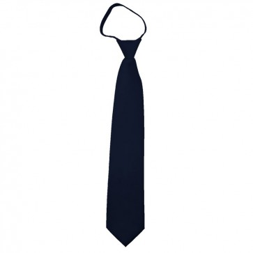 Solid Navy Boys Zipper Ties Kids Neckties