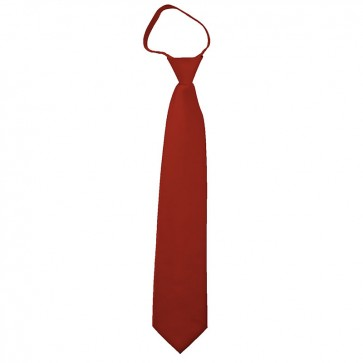 Solid Rust Boys Zipper Ties Kids Neckties