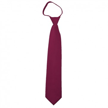 Solid Raspberry Boys Zipper Ties Kids Neckties