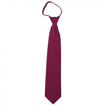 Solid Burgundy Boys Zipper Ties Kids Neckties