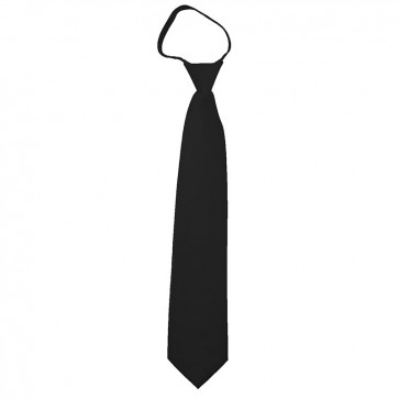 Solid Black Zipper Ties Mens Neckties