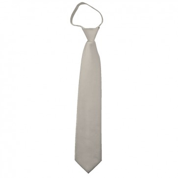 Solid Platinum Boys Zipper Ties Kids Neckties
