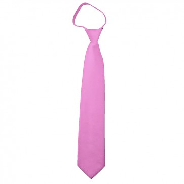 Solid Hot Pink Boys Zipper Ties Kids Neckties