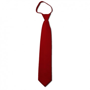 Solid Crimson Boys Zipper Ties Kids Neckties