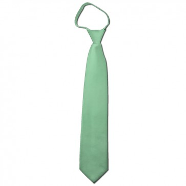 Solid Light Sage Boys Zipper Ties Kids Neckties