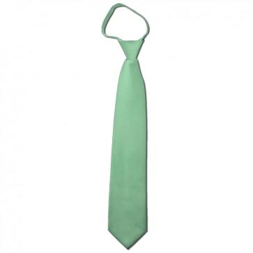 Solid Light Sage Boys Zipper Ties Kids Neckties