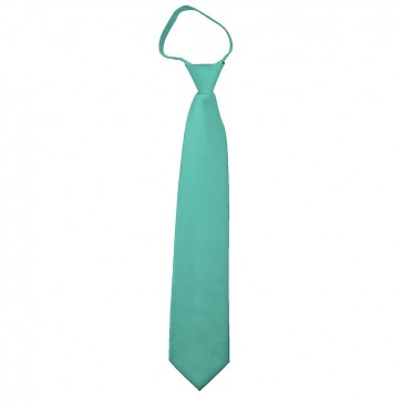 Solid Aqua Green Boys Zipper Ties Kids Neckties