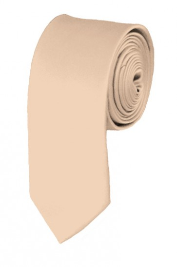 Skinny Peach Ties Solid Color 2 Inch Tie Mens Neckties