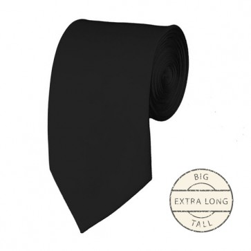 Black Extra Long Tie Solid Color Ties Mens Neckties