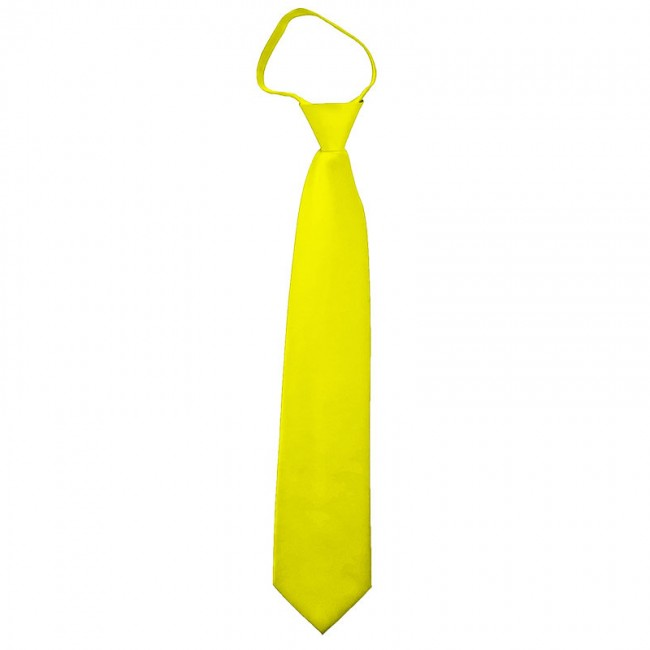 558501581a86 Lemon Yellow Boys Zipper Tie - Pre-Tied - Satin - Kid Sized ...