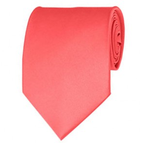 Coral Rose Solid Color Ties Mens Neckties