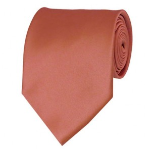 Palm Coast Coral Solid Color Ties Mens Neckties