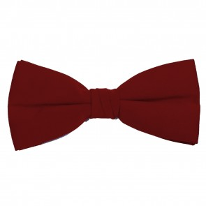 Burgundy Bow Tie Solid Pre-tied Satin Mens Ties