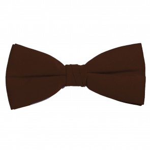 Brown Bow Tie Solid Pre-tied Satin Mens Ties