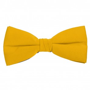 Yellow Bow Tie Solid Pre-tied Satin Mens Ties