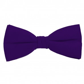 Dark Purple Bow Tie Solid Pre-tied Satin Mens Ties