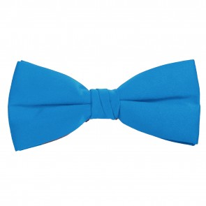 Peacock Blue Bow Tie Solid Pre-tied Satin Mens Ties