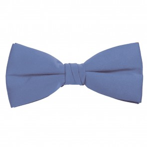 Steel Blue Bow Tie Solid Pre-tied Satin Mens Ties