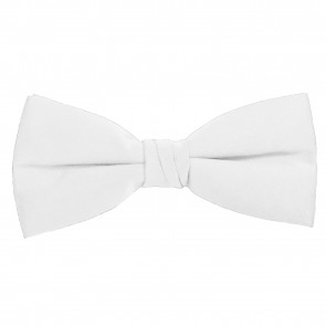White Bow Tie Solid Pre-tied Satin Mens Ties