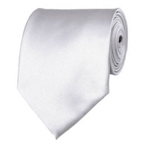 White Solid Color Ties Mens Neckties