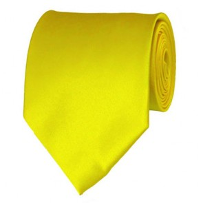 Lemon Yellow Solid Color Ties Mens Neckties