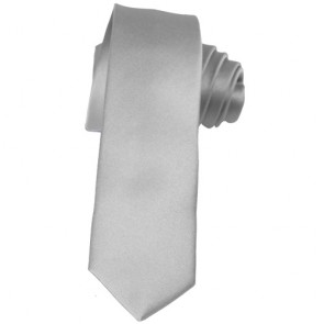 Solid Silver Skinny Ties Solid Color 2 Inch Mens Neckties