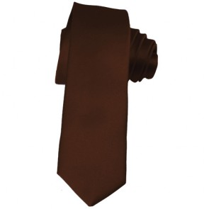 Solid Brown Skinny Ties Solid Color 2 Inch Mens Neckties