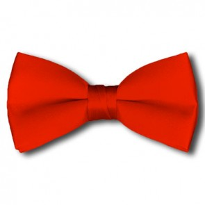 Solid Coral Red Bow Tie Pre-tied Satin Mens Ties