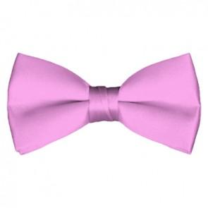 Solid Pink Bow Tie Pre-tied Satin Mens Ties