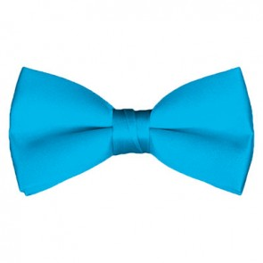 Solid Turquoise Blue Bow Tie Pre-tied Satin Mens Ties