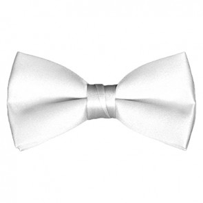 Solid White Bow Tie Pre-tied Satin Mens Ties
