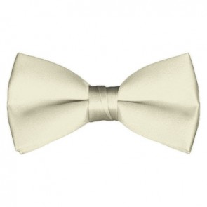 Solid Cream Bow Tie Pre-tied Satin Mens Ties