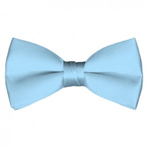 Solid Powder Blue Bow Tie Pre-tied Satin Mens Ties