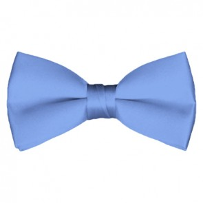Solid Steel Blue Bow Tie Pre-tied Satin Mens Ties