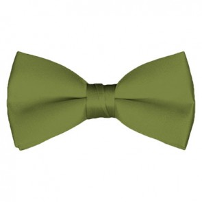 Solid Olive Bow Tie Pre-tied Satin Mens Ties