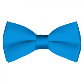 Solid Peacock Blue Bow Tie Pre-tied Satin Mens Ties