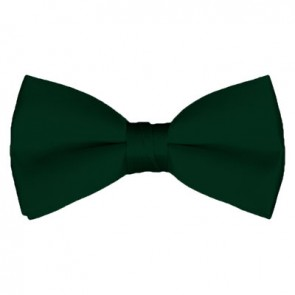 Solid Hunter Green Bow Tie Pre-tied Satin Mens Ties