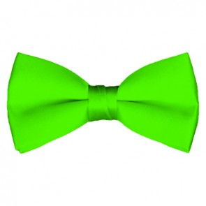 Solid Lime Green Bow Tie Pre-tied Satin Mens Ties